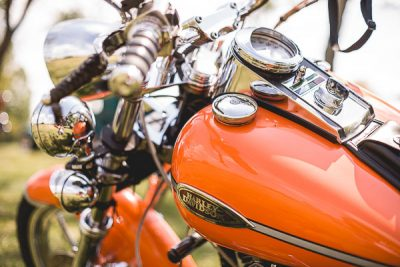 Free Stock Photos for Blogs - Orange Harley Davidson Motorcycle 1