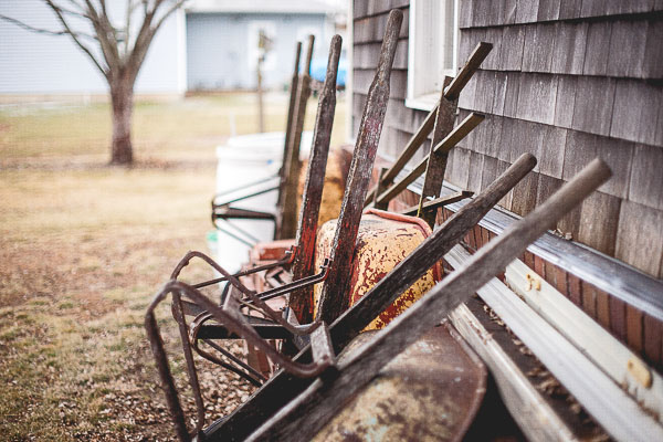Free Stock Photos for Blogs - Wheelbarrows in a Row 1