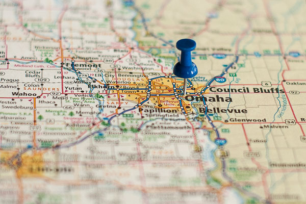 Free Stock Photos for Blogs - Omaha Nebraska Pinpoint on a Map
