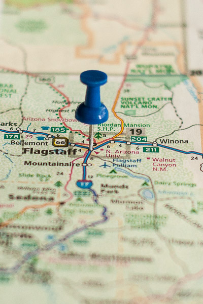 Free Stock Photos for Blogs - Flagstaff Arizona Pinpoint on a Map