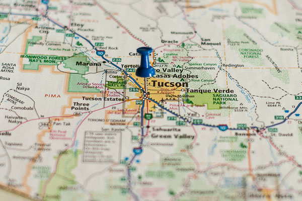 Free Stock Photos for Blogs - Tucson Arizona Pinpoint on a Map