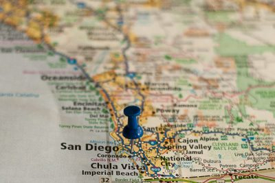 Free Stock Photos for Blogs - San Diego California Pinpoint on a Map