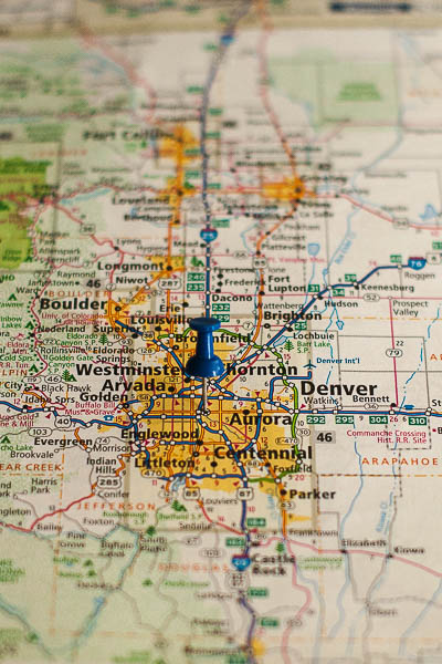 Free Stock Photos for Blogs - Denver Colorado Pinpoint on a Map