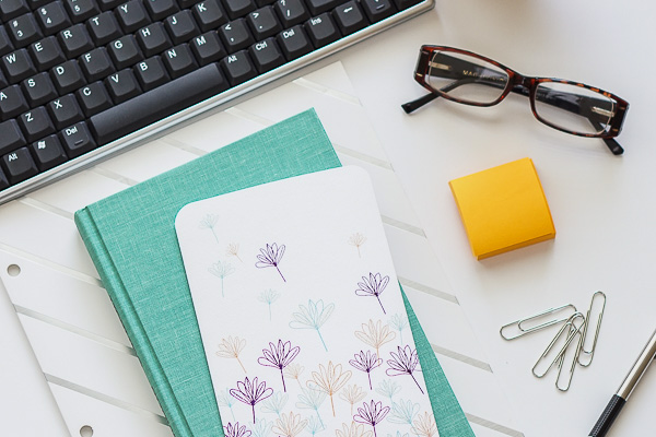 Free Stock Photos for Blogs - Teal and Yellow Office Desk 2