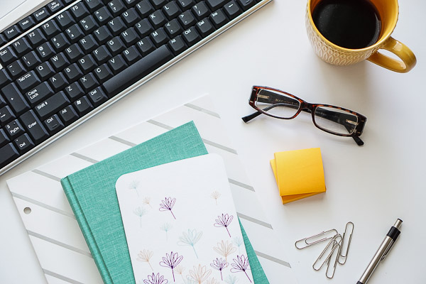 Free Stock Photos for Blogs - Teal and Yellow Office Desk 7