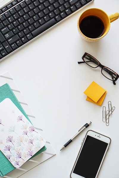 Free Stock Photos for Blogs - Teal and Yellow Office Desk 12