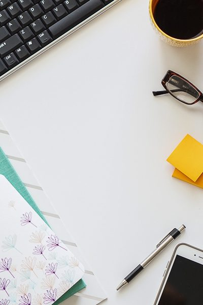 Free Stock Photos for Blogs - Teal and Yellow Office Desk 13