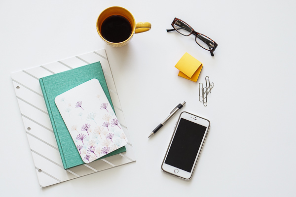 Free Stock Photos for Blogs - Teal and Yellow Office Desk 20