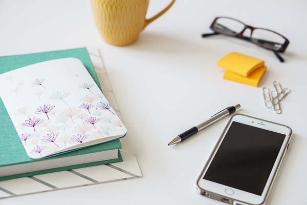Free Stock Photos for Blogs - Teal and Yellow Office Desk 22