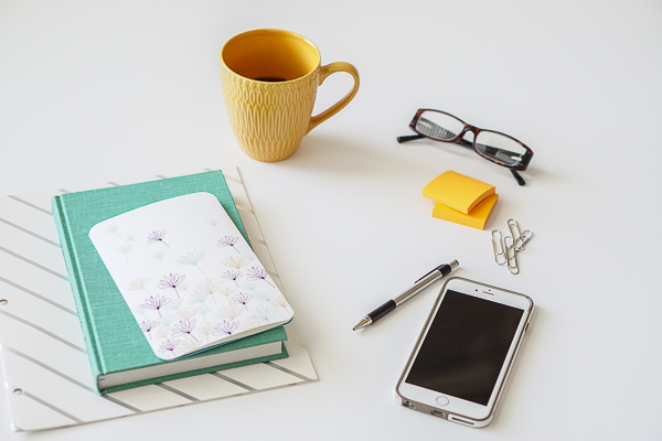 Free Stock Photos for Blogs - Teal and Yellow Office Desk 25