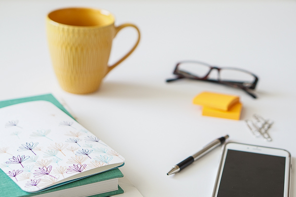Free Stock Photos for Blogs - Teal and Yellow Office Desk 27