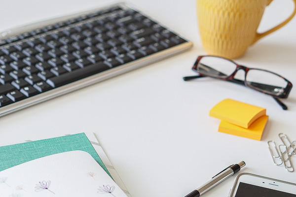 Free Stock Photos for Blogs - Teal and Yellow Office Desk 30