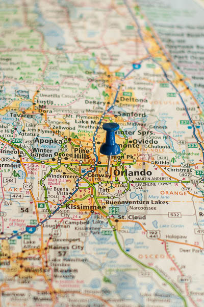 Free Stock Photos for Blogs - Orlando Florida Pinpoint on a Map