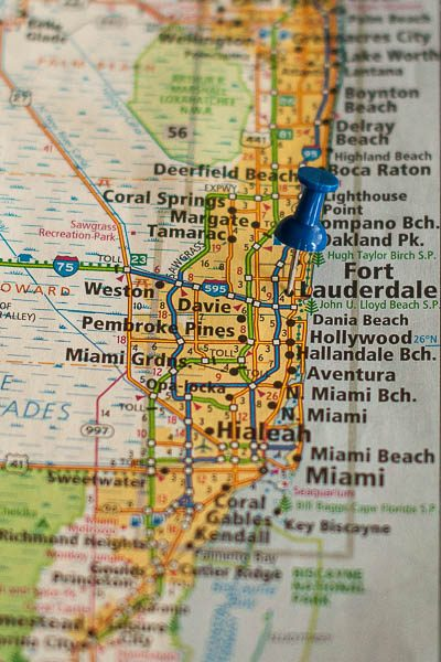 Free Stock Photos for Blogs - Fort Lauderdale Florida Pinpoint on a Map