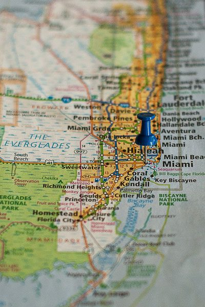 Free Stock Photos for Blogs - Miami Florida Pinpoint on a Map