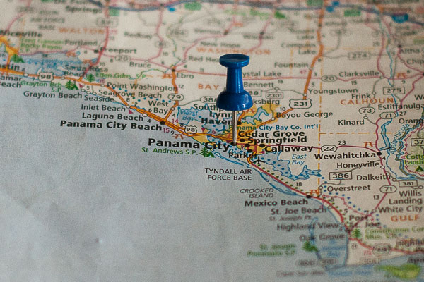 Free Stock Photos for Blogs - Panama City Florida Pinpoint on a Map