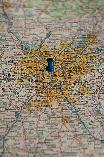 Free Stock Photos for Blogs - Atlanta Georgia Pinpoint on a Map