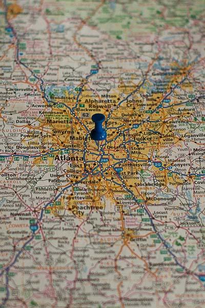 Free Stock Photos for Blogs - Atlanta Georgia Pinpoint on a Map
