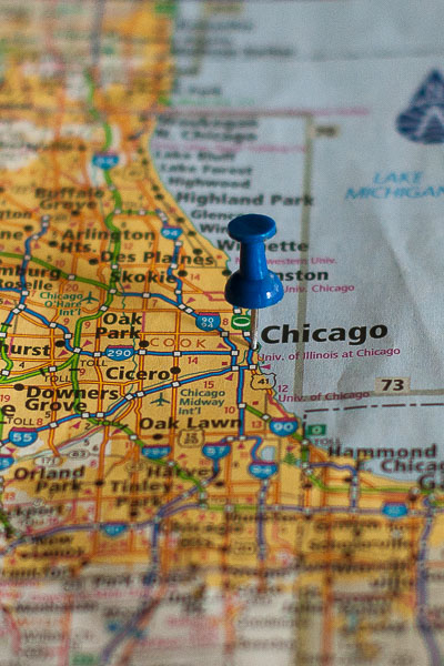 Free Stock Photos for Blogs - Chicago Illinois Pinpoint on a Map