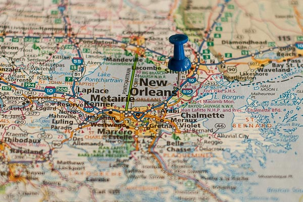 Free Stock Photos for Blogs - New Orleans Louisiana Pinpoint on a Map