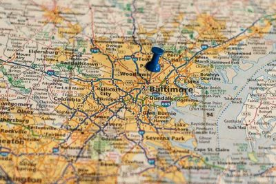 Free Stock Photos for Blogs - Baltimore Maryland Pinpoint on a Map