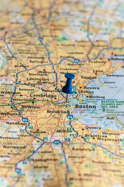 Free Stock Photos for Blogs - Boston Massachusetts Pinpoint on a Map