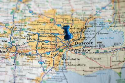 Free Stock Photos for Blogs - Detroit Michigan Pinpoint on a Map