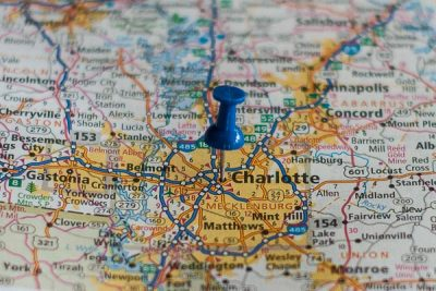 Free Stock Photos for Blogs - Charlotte North Carolina Pinpoint on a Map