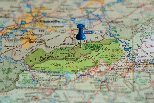 Free Stock Photos for Blogs - Great Smokey Mountain National Park Pinpoint on a Map