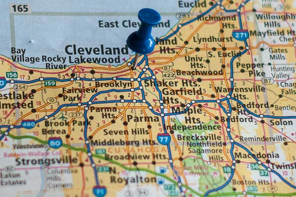 Free Stock Photos for Blogs - Cleveland Ohio Pinpoint on a Map