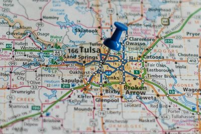 Free Stock Photos for Blogs - Tulsa Oklahoma Pinpoint on a Map