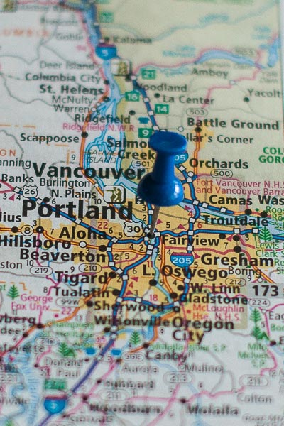 Free Stock Photos for Blogs - Portland Oregon Pinpoint on a Map