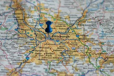 Free Stock Photos for Blogs - Pittsburg Pennsylvania Pinpoint on a Map