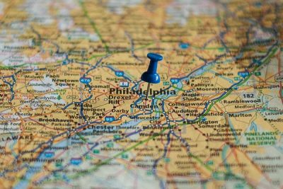 Free Stock Photos for Blogs - Philadelphia Pennsylvania Pinpoint on a Map