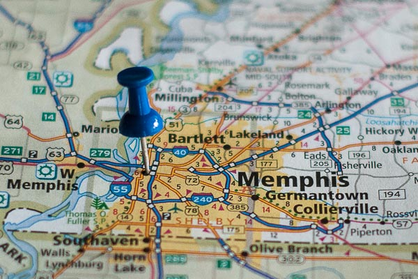 Free Stock Photos for Blogs - Memphis Tennessee Pinpoint on a Map