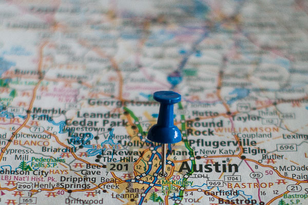 Free Stock Photos for Blogs - Austin Texas Pinpoint on a Map