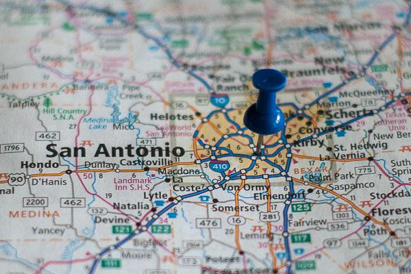 Free Stock Photos for Blogs - San Antonio Texas Pinpoint on a Map