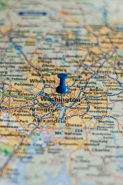 Free Stock Photos for Blogs - Washington DC Pinpoint on a Map