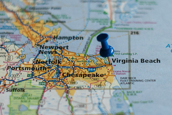 Free Stock Photos for Blogs - Virginia Beach Pinpoint on a Map
