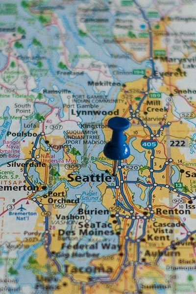 Free Stock Photos for Blogs - Seattle Washington Pinpoint on a Map