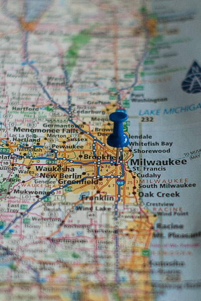 Free Stock Photos for Blogs - Milwaukee Wisconsin Pinpoint on a Map