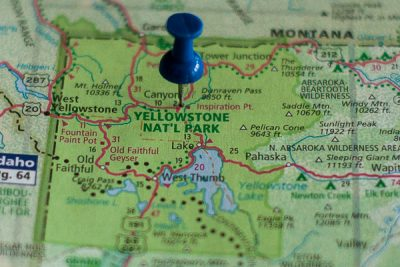 Free Stock Photos for Blogs - Yellowstone National Park Pinpoint on a Map