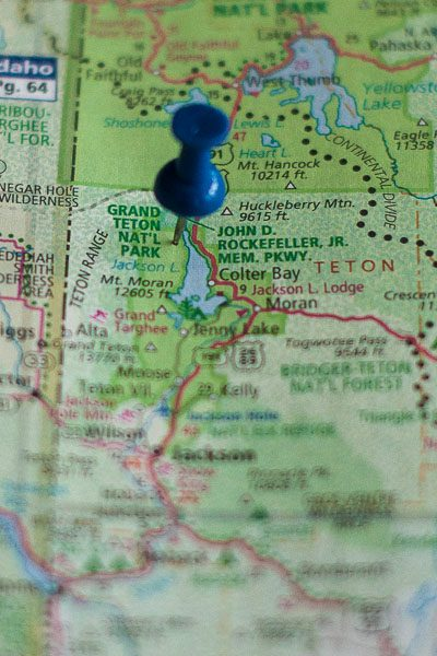 Free Stock Photos for Blogs - Grand Teton National Park Pinpoint on a Map