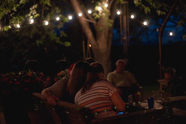 Free Stock Photos for Blogs - Family Outside at Night on Patio