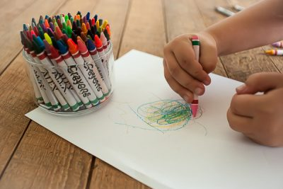 Free Stock Photos for Blogs - Child Coloring with Crayons 1