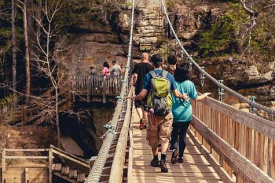 Free Stock Photos for Blogs - Hikers on Swinging Bridge 1