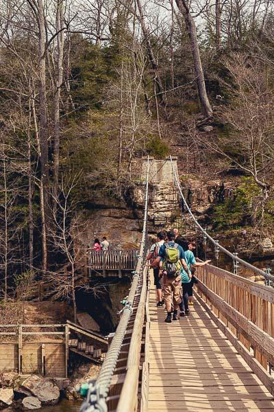 Free Stock Photos for Blogs - Hikers on Swinging Bridge 2