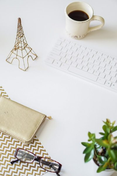 Free Stock Photos for Blogs - Paris Gold and Cream Office Desk 1