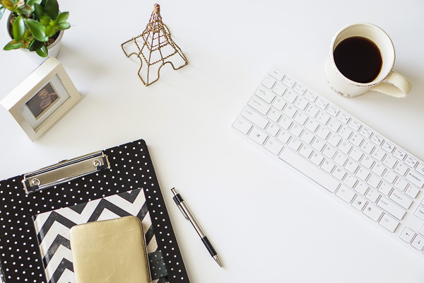 Free Stock Photos for Blogs - Paris Black and Gold Office Desk 4