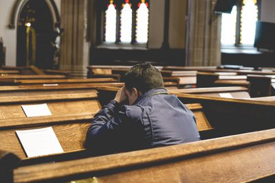 Free Stock Photos for Blogs - Man Praying in Church 1